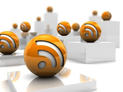 abstract 3d illustration of many rss symbols, over white background