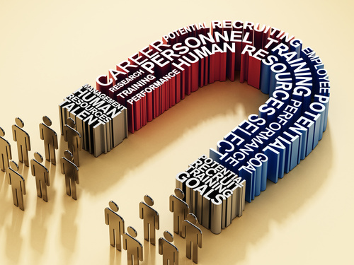 Human resources related keywords forming horseshoe magnet attrac
